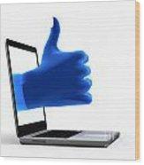 Okay Gesture Blue Hand From Screen Wood Print