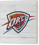 Okc Thunder Basketball Team Retro Logo Vintage Recycled Oklahoma License Plate Art Wood Print