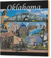 Oklahoma Collage With Words Wood Print