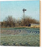 Oklahoma Farm In Winter Wood Print