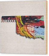 Oklahoma Map Art - Painted Map Of Oklahoma Wood Print