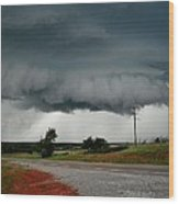 Oklahoma Wall Cloud Wood Print