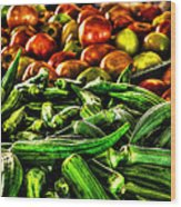 Okra And Tomatoes Wood Print