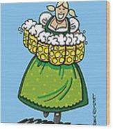 Oktoberfest Beer Waitress Dirndl Wood Print