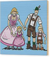Oktoberfest Family Dirndl And Lederhosen Wood Print