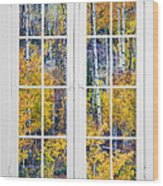 Old 16 Pane White Window Colorful Fall Aspen View  Wood Print