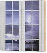 Old 16 Pane White Window Stormy Lightning Lake View Wood Print