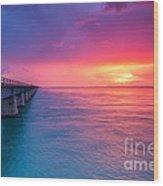 Old 7 Mile Bridge Sunset Wood Print