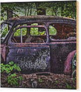 Old Abandoned Car In The Woods Wood Print