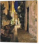 Old Alley At Night Wood Print