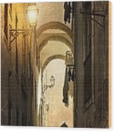 Old Alley Wood Print by Carlos Caetano