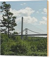 Old And New Bridges Over Penobscot Wood Print