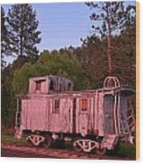 Old And Weathered Caboose Wood Print