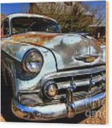 Old Baby Blue Chevy Wood Print