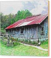 Old Barn Along Golden Road Filtered Wood Print