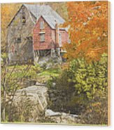 Old Barn And Dam In Autunm Vienna Maine Wood Print