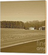 Old Barn And Farm Field In Sepia Wood Print
