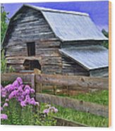 Old Barn And Flowers Wood Print