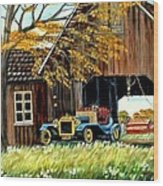 Old Barn And Old Car Wood Print