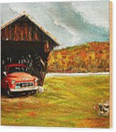 Old Barn And Red Truck Wood Print