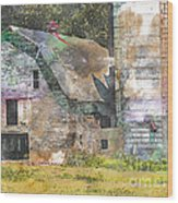 Old Barn And Silos Digital Paint Wood Print