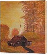 Old Barn In Autumn Wood Print