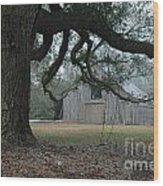 Old Barn In Fog Wood Print