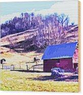 Old Barn In November Filtered Wood Print