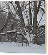 Old Barn In Winter Wood Print