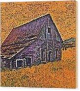 Old Barn Orange Wood Print