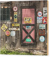 Old Barn Signs - Door And Window - Shadow Play Wood Print