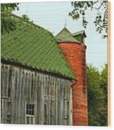 Old Barn With Brick Silo II Wood Print