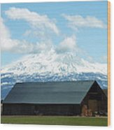 Old Barn With Mount Rainier View Wood Print
