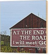 Old Barn With Religious Sign Wood Print