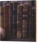 Old Baseball And Books Wood Print