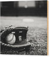 Old Baseball And Glove On Field Wood Print