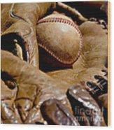 Old Baseball Ball And Gloves Wood Print