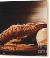 Old Baseball Glove Wood Print