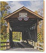 Old Bedford Village Covered Bridge Entrance Wood Print