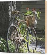 Old Bicycle And Hat Wood Print