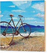 Old Bike At The Beach Wood Print by Kostas Koutsoukanidis
