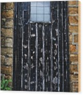 Vintage Cottage Black Door Wood Print