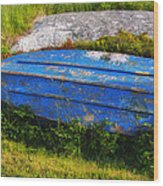 Old Blue Boat Wood Print