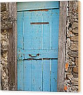 Old Blue Door Wood Print