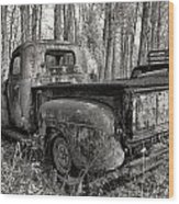 Old Blue In Sepia Wood Print