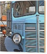 Old Blue Jalopy Truck Wood Print