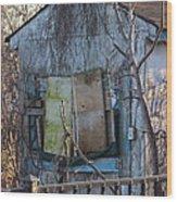 Old Blue Shack Wood Print