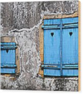 Old Blue Shutters Wood Print