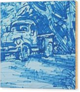 Old Blue Truck Wood Print