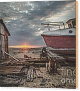 Old Boat At Sunset Wood Print by Ivor Toms